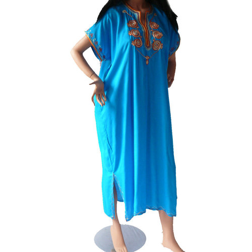 Orientalisches Kleid Kaftan Tunikakleid Strandkleid Sommerkleid Maxi, blau-orange