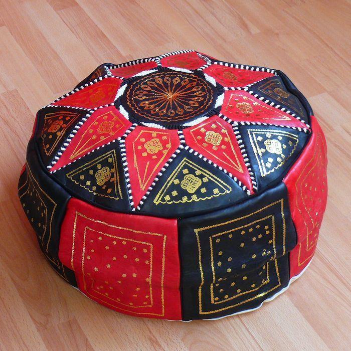 Orientalische Sitzkissen orientalisches sitzkissen pouf bodenkissen hocker leder kissen ø 60