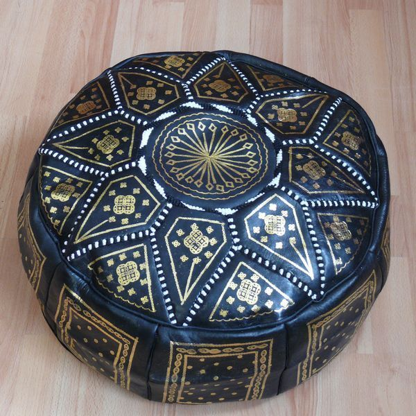 orientalisches sitzkissen pouf bodenkissen hocker leder. Black Bedroom Furniture Sets. Home Design Ideas