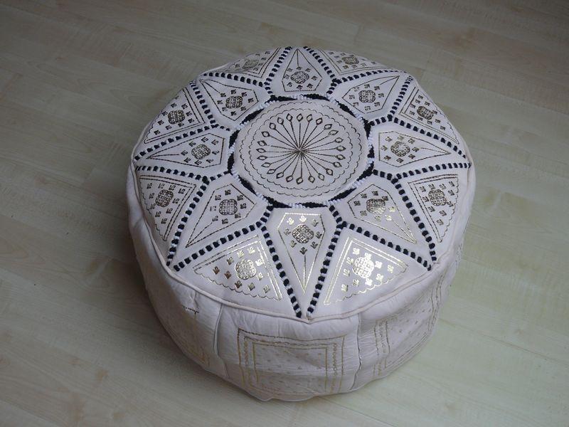 orientalisches sitzkissen pouf bodenkissen hocker leder kissen 60 cm marrakech. Black Bedroom Furniture Sets. Home Design Ideas